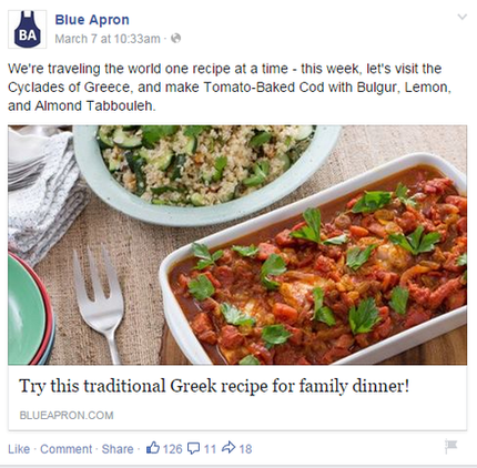 Brand marketing Blue Apron Facebook post