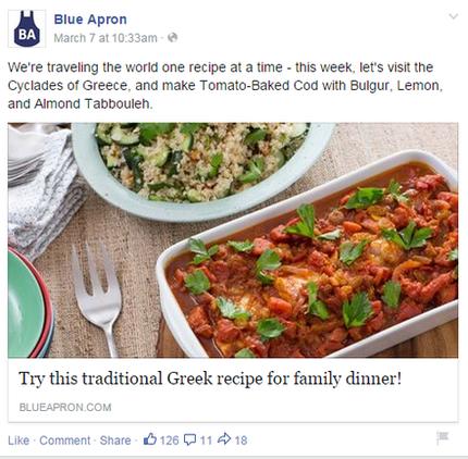 Brand marketing Blue Apron Facebook post