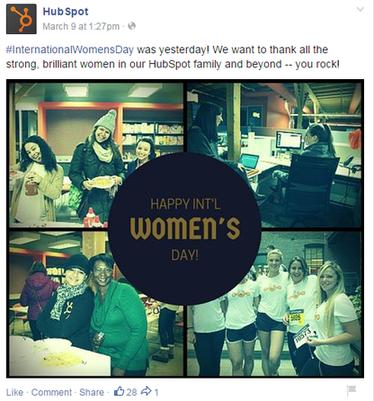 Brand marketing HubSpot post on Facebook