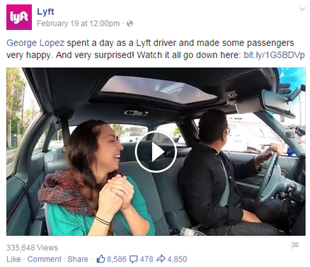 Brand marketing Lyft Facebook post