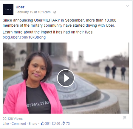 Brand marketing post from Uber on Facebook