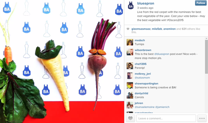Brand marketing screenshot of a Blue Apron Instagram
