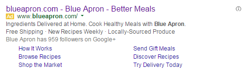 Brand marketing screenshot of Blue Apron's paid search ad