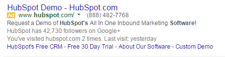 Brand marketing HubSpot's PPC ad