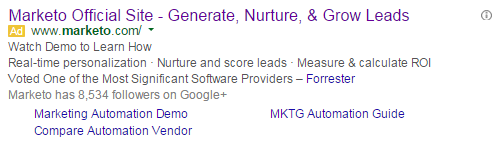 Brand marketing Marketo's PPC ad