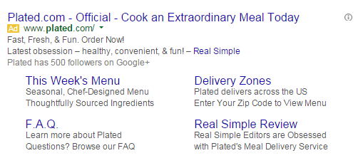 Brand marketing screenshot of Plated's ppc ad.