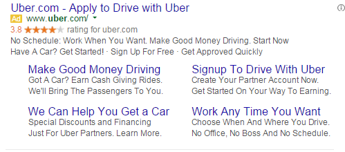 Brand marketing Uber's paid search ad