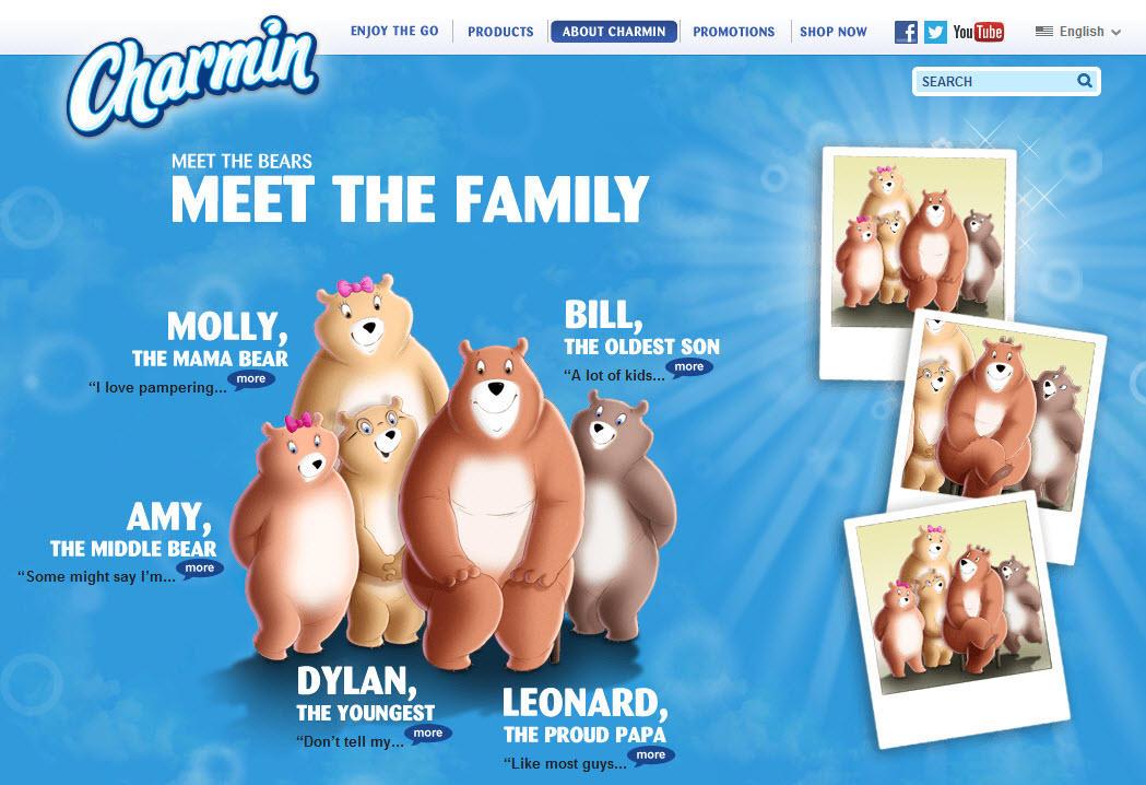 Brand voice Charmin bear mascot family