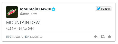 Brand voice Mountain Dew tweet