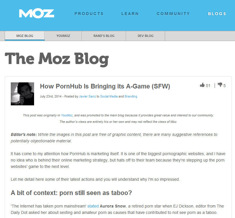 Brand voice Moz blog post
