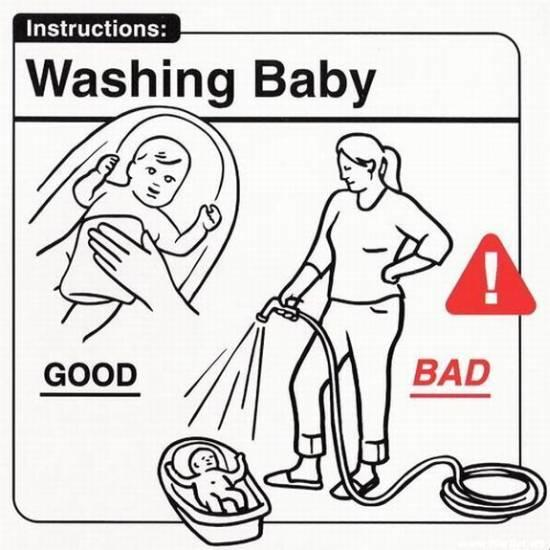 Brand voice how to wash a baby instructional diagram