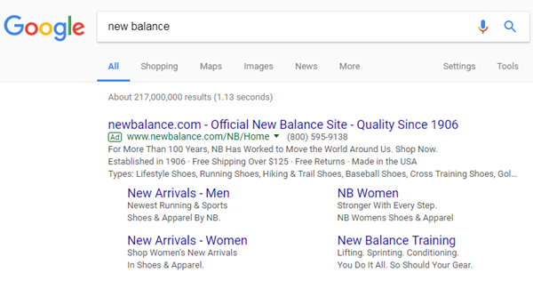 example serp for branded keywords showing quality score