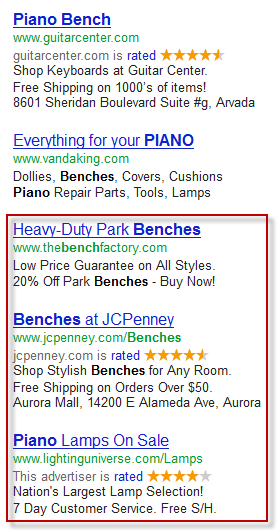 Two of the ads that displayed are for other kinds of benches, and one is  for piano lamps. These don't match the intent of the search query well.