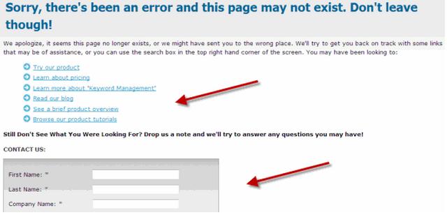 Broken links error page