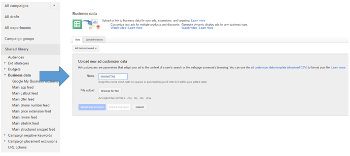 adwords UI business data tab