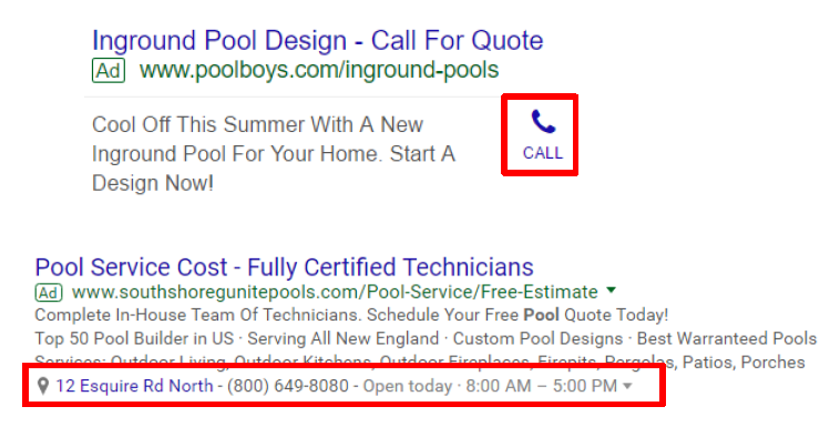 call and location extensions