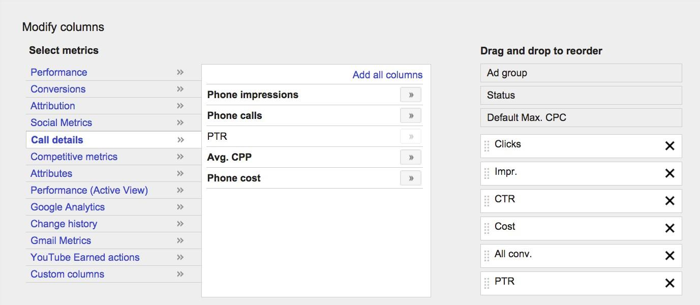 Call Only Campaigns AdWords Call Through Rate