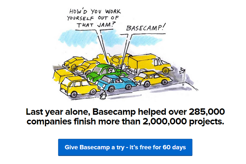 Call to action examples give Basecamp a try