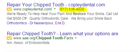 Call tracking example of a dental ad