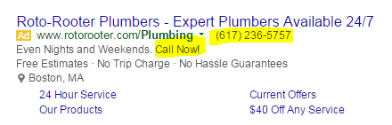 call tracking example of an ad with a number in it