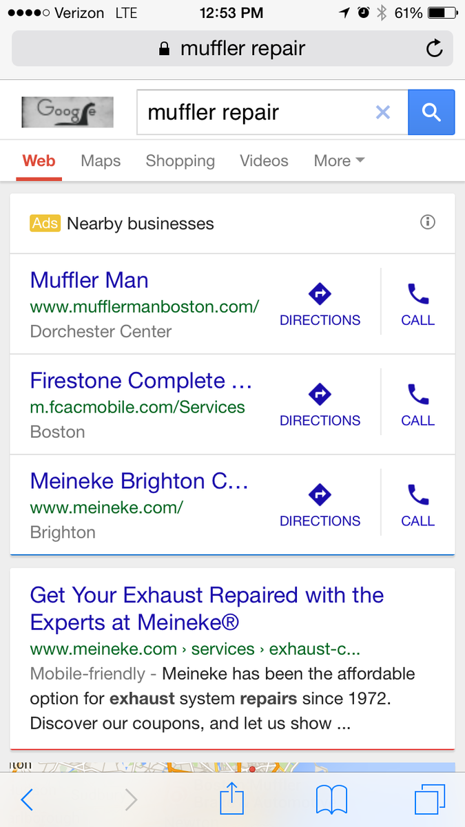 Call tracking screenshot showing click-to-call ads
