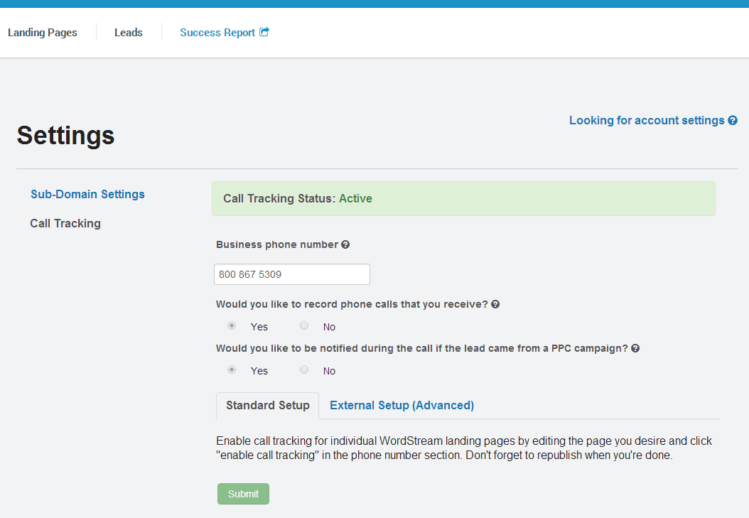wordstream call tracking software