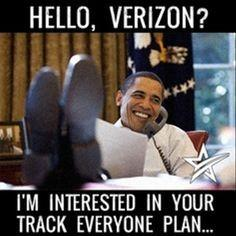 "Call tracking funny image of Obama saying ""Hello, Verizon? I'm Interested in Your Track Everyone Plan."""