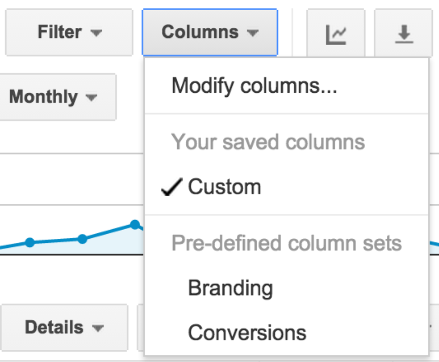 Screenshot example of customizing columns by goals