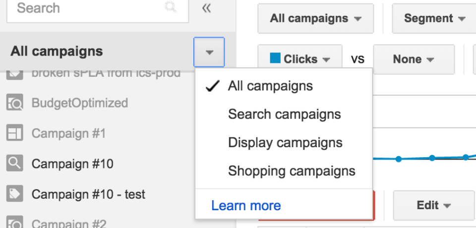 Screeshot example showing how to filter by campaign type