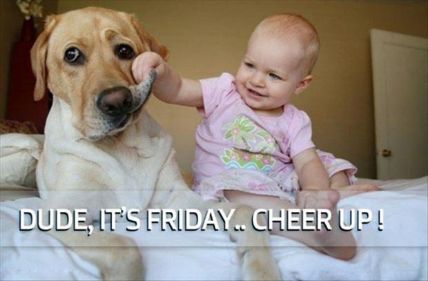 """Baby holding dogs sad face saying, """"Dude, it's Friday, Cheer up!"""""""