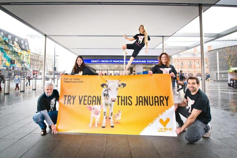 Cause-based marketing Veganuary ads London Underground campaign launch King's Cross station