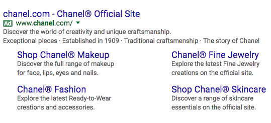 chanel luxury brand ppc ad