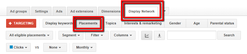 display network placements