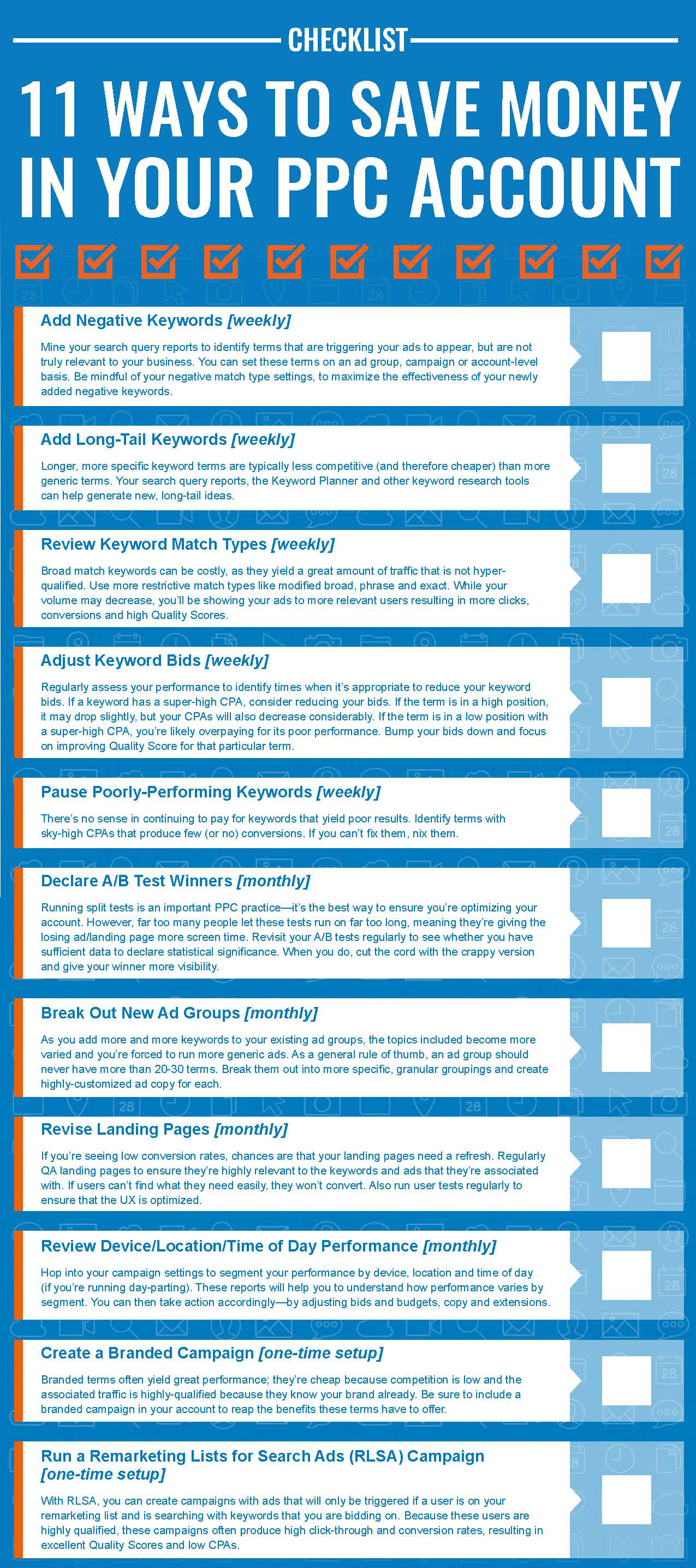 money saving checklist