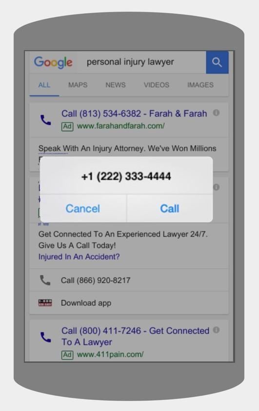 call only ads for law firms