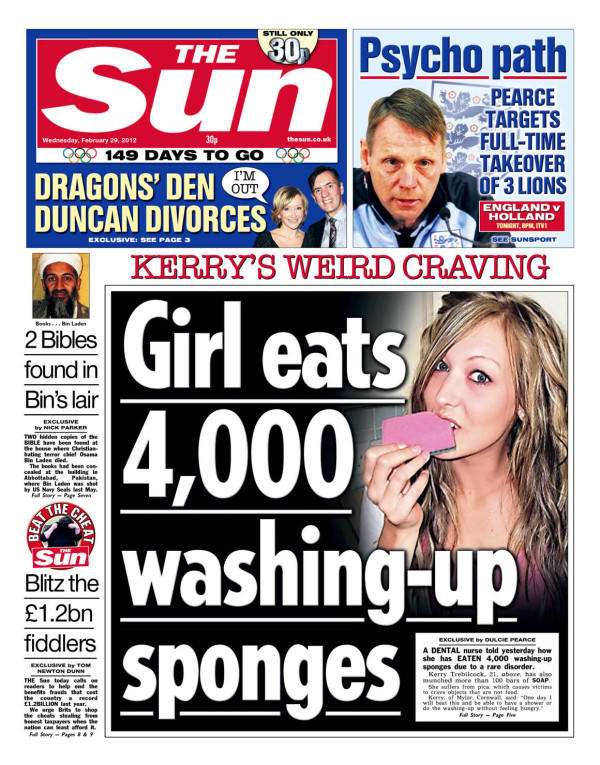 Clickbait Sun newspaper ridiculous headline