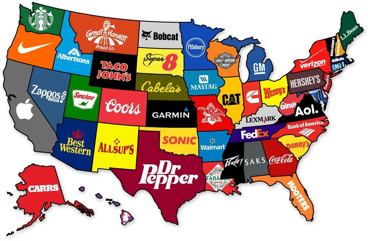 Clickbait American brands by state map