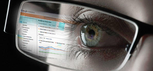 Clickbait Google Analytics screen reflected in eyeglasses