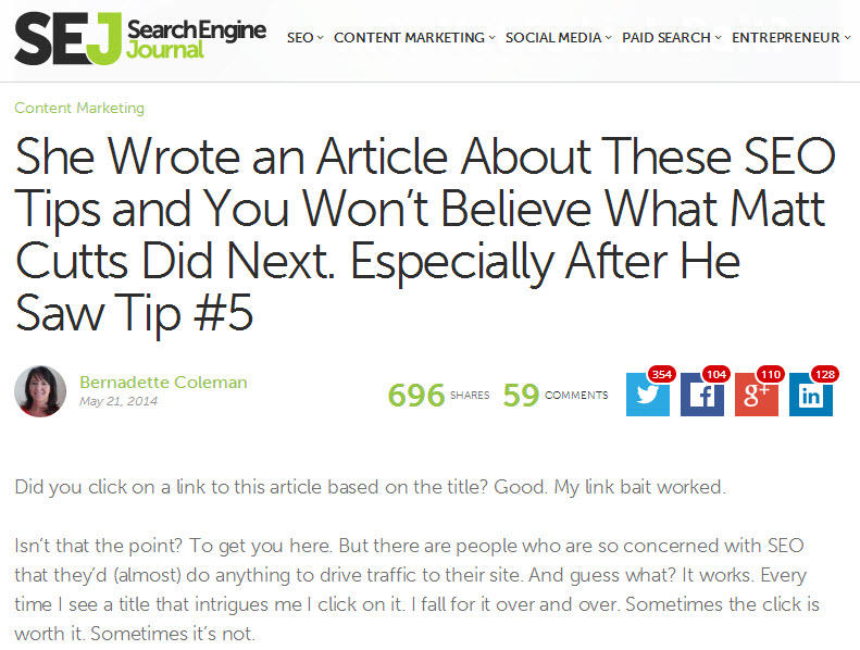 Clickbait bad example search engine journal