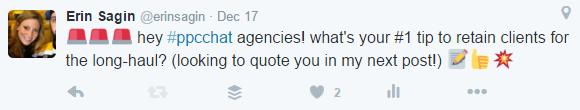 twitter question client retention