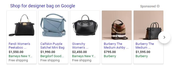 Close variants designer bag Google Shopping results