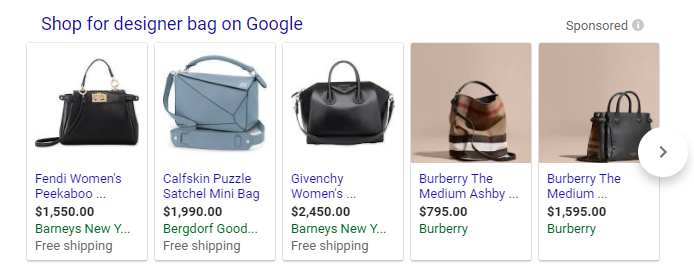 Close variants designer bag Google Shopping results