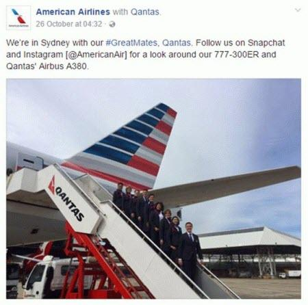 Combine PPC with social media American Airlines Qantas tweet