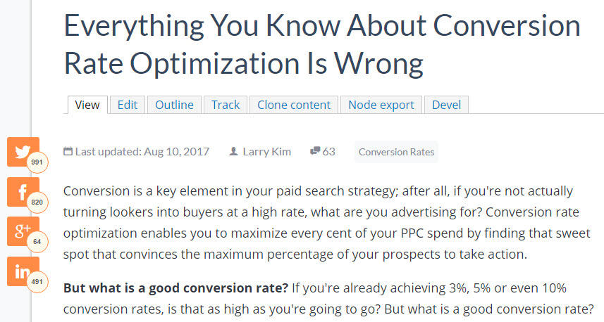 Combine PPC with social media blog post social share count