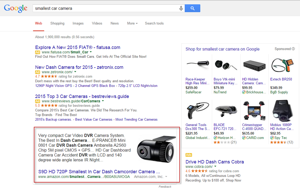 Google commercialized answer box desktop search