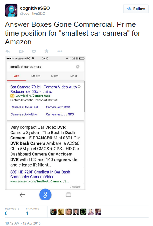 Google commercialized answer box tweet