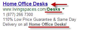 Keywords in AdWords Ads