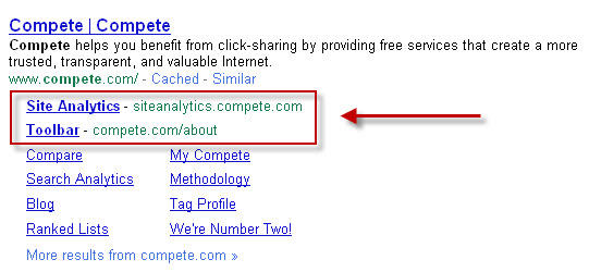 New Google sitelinks for compete.com