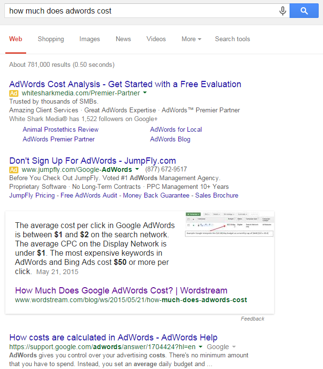 Content marketing advice Google Featured Snippet