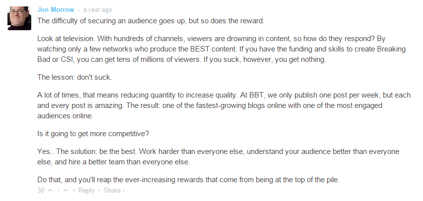 Content marketing challenges Jon Morrow comment